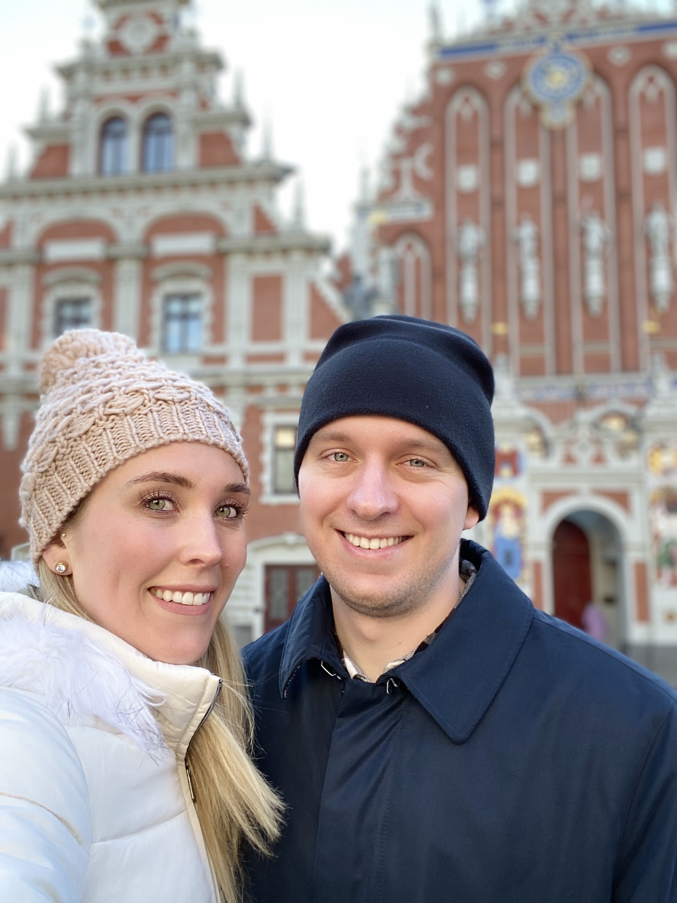 Erinn and Ben in front of the House of the Blackheads in Riga, Latvia.