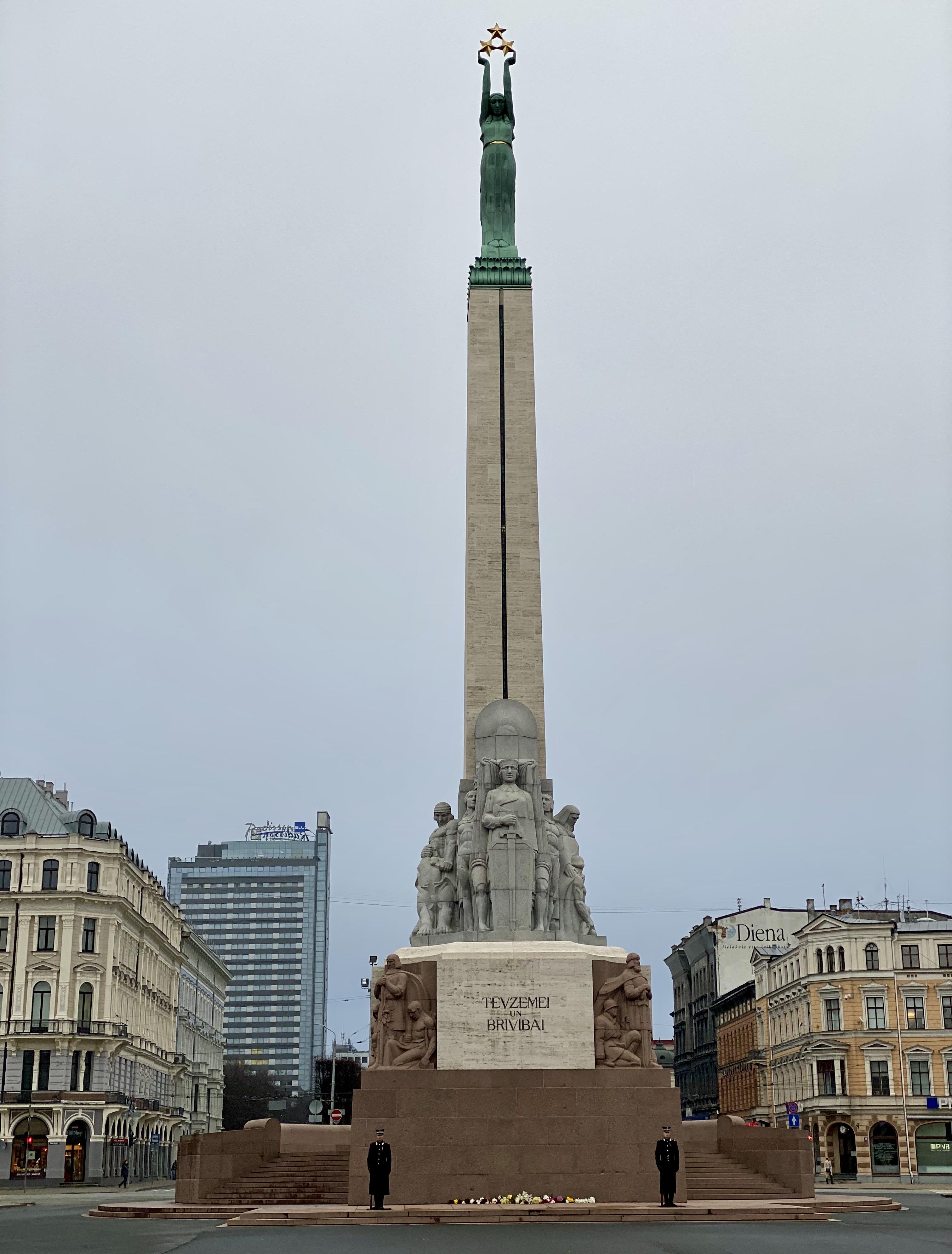 The Freedom Monument in Riga, Latvia.