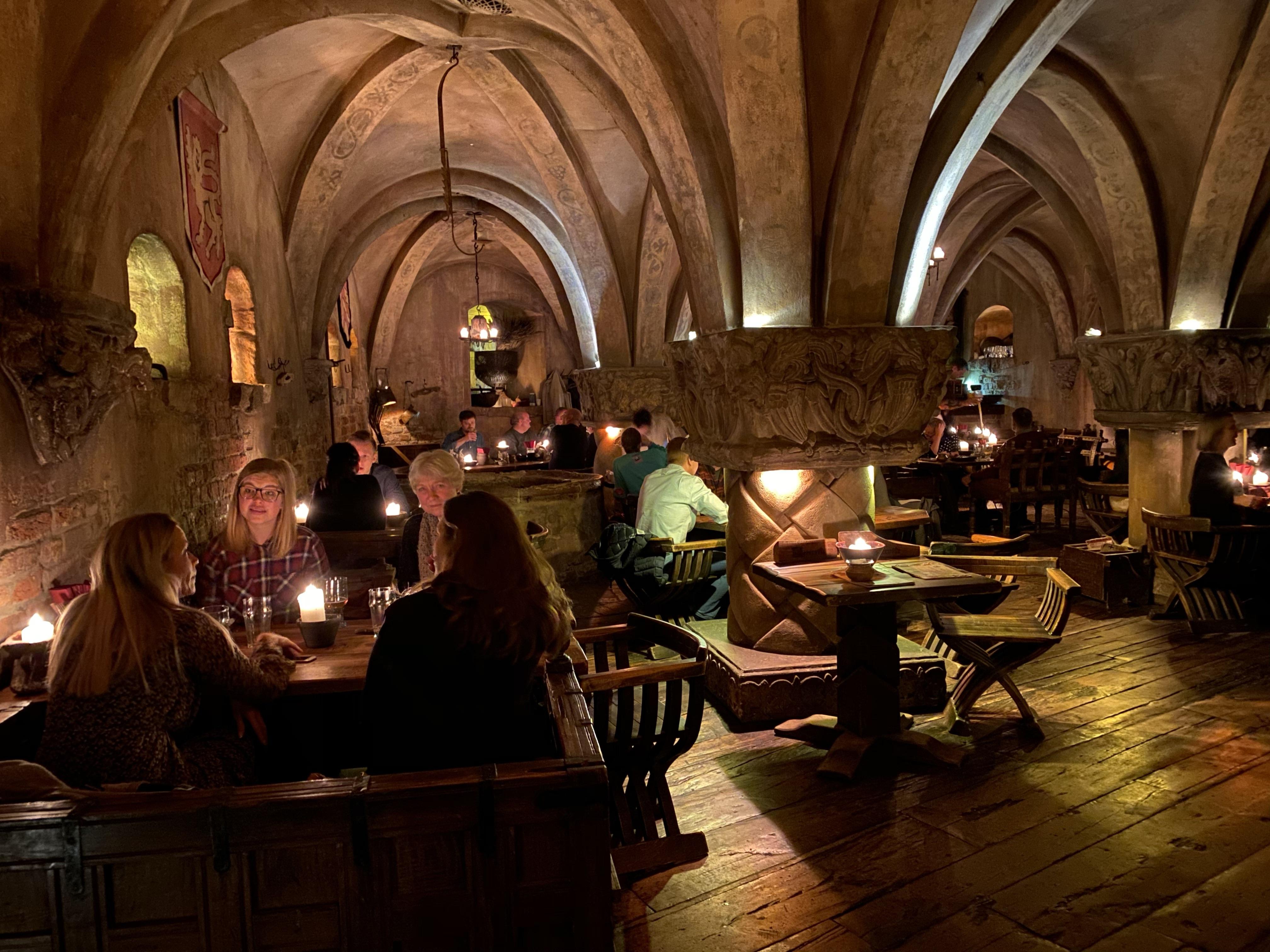Inside of Rozengrāls medieval restaurant in Riga, Latvia.