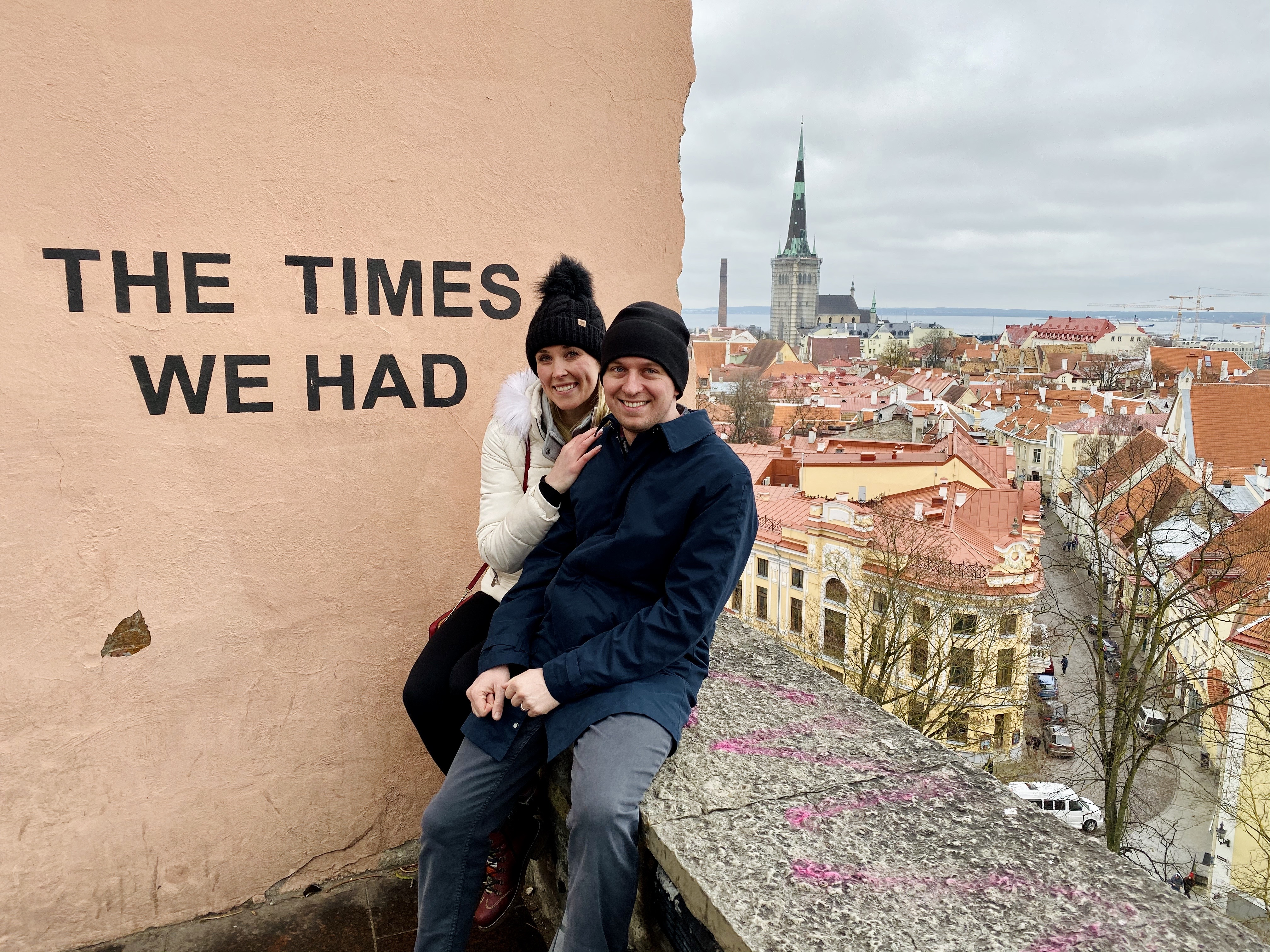 Erinn and Ben at THE TIMES WE HAD wall in Tallinn, Estonia.