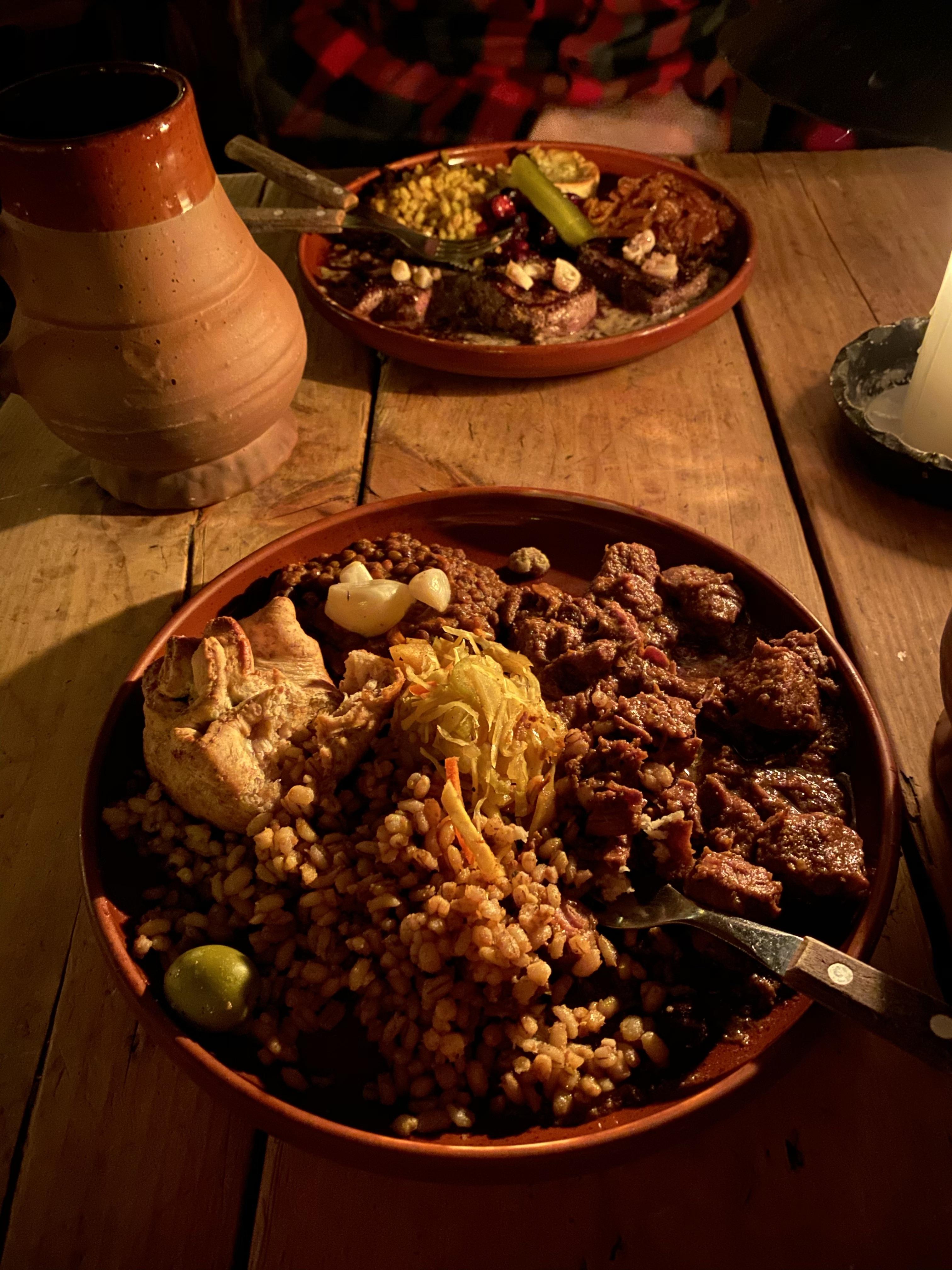 A plate of food at Olde Hansa medieval restaurant in Tallinn, Estonia.