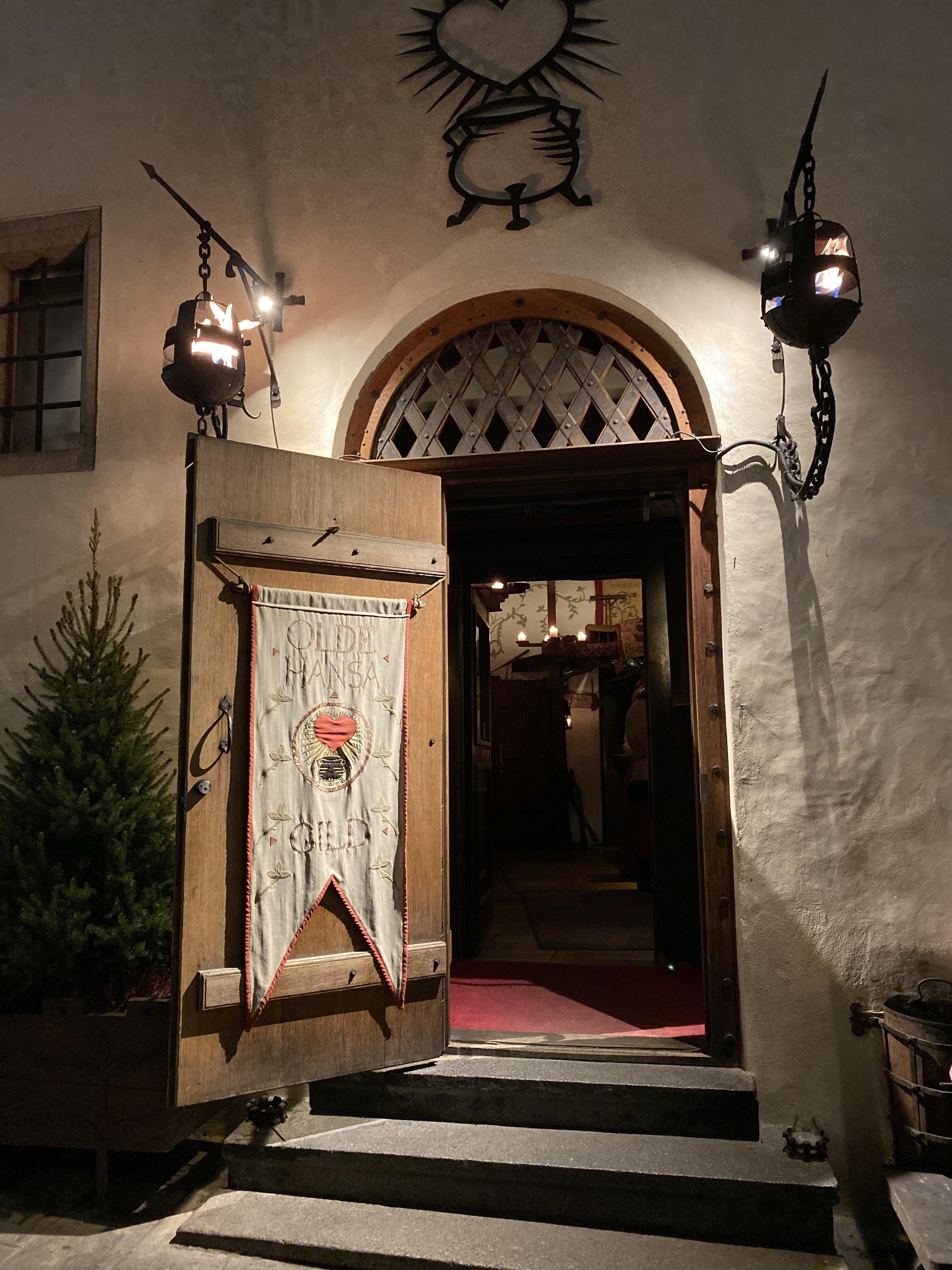 The entrance to Olde Hansa medieval restaurant in Tallinn, Estonia.