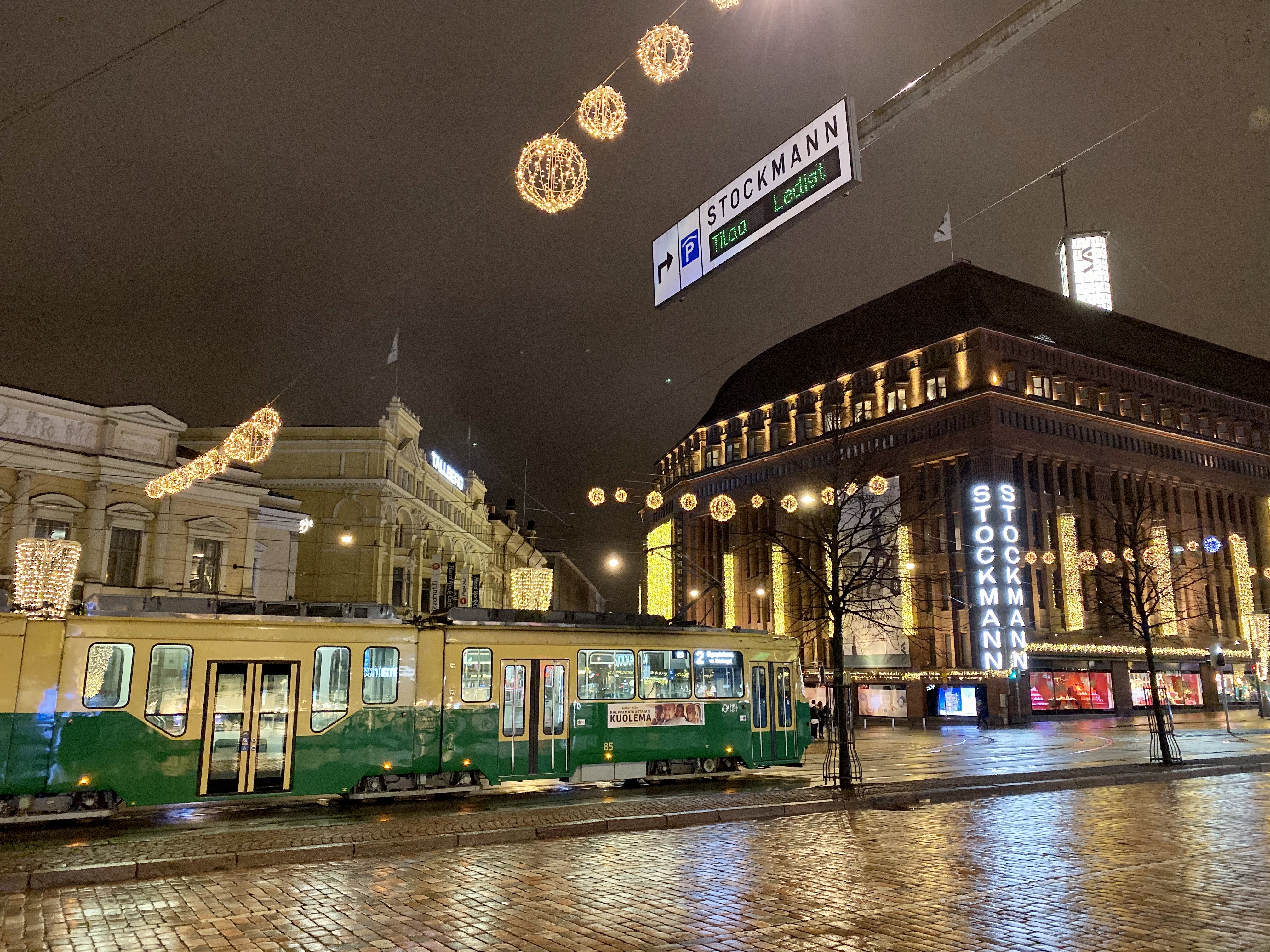 Christmas lights and a tram in Helsinki, Finland.