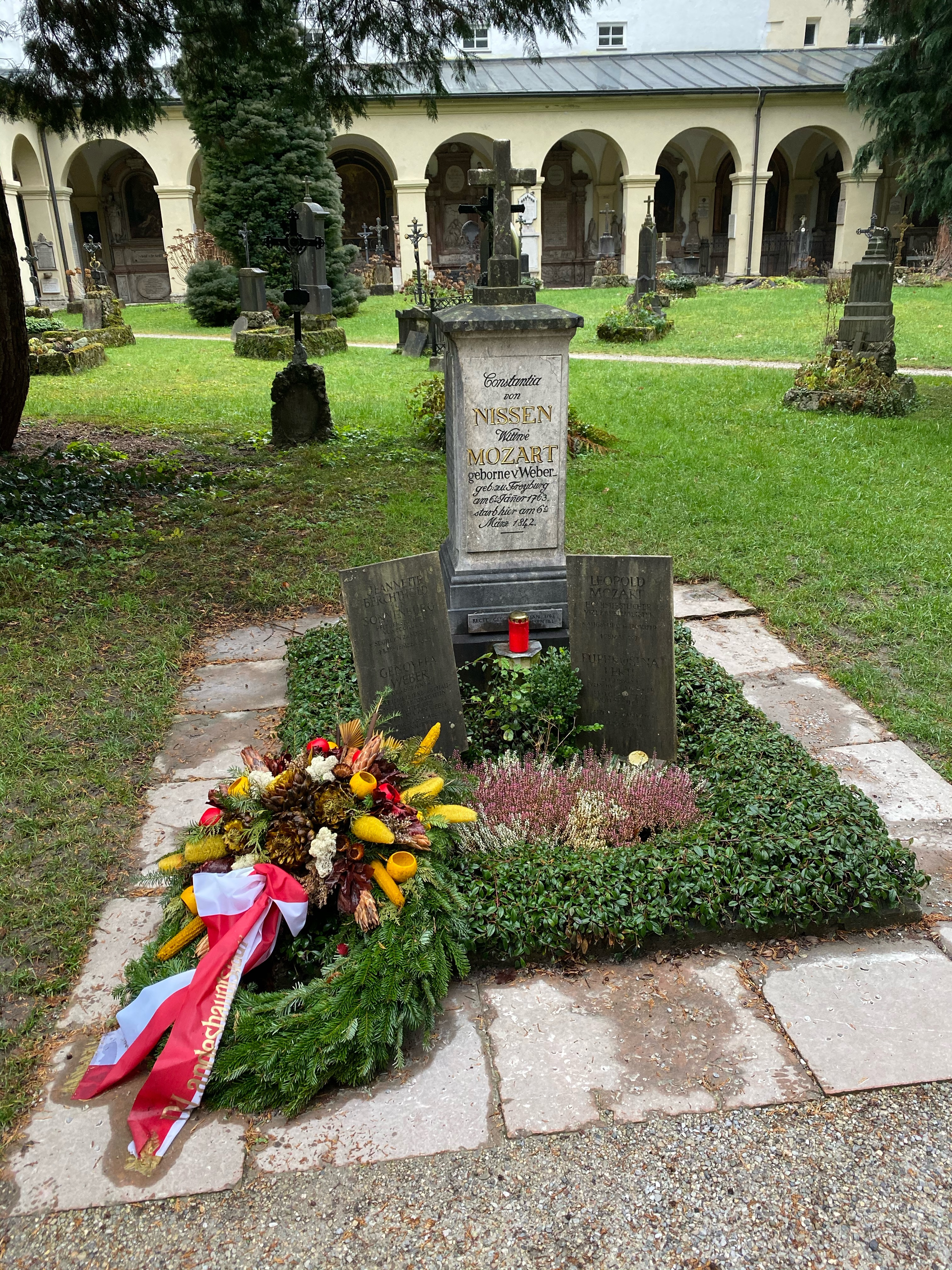 The grave of members of the Mozart family at St. Sebastian's Cemetery in Salzburg.
