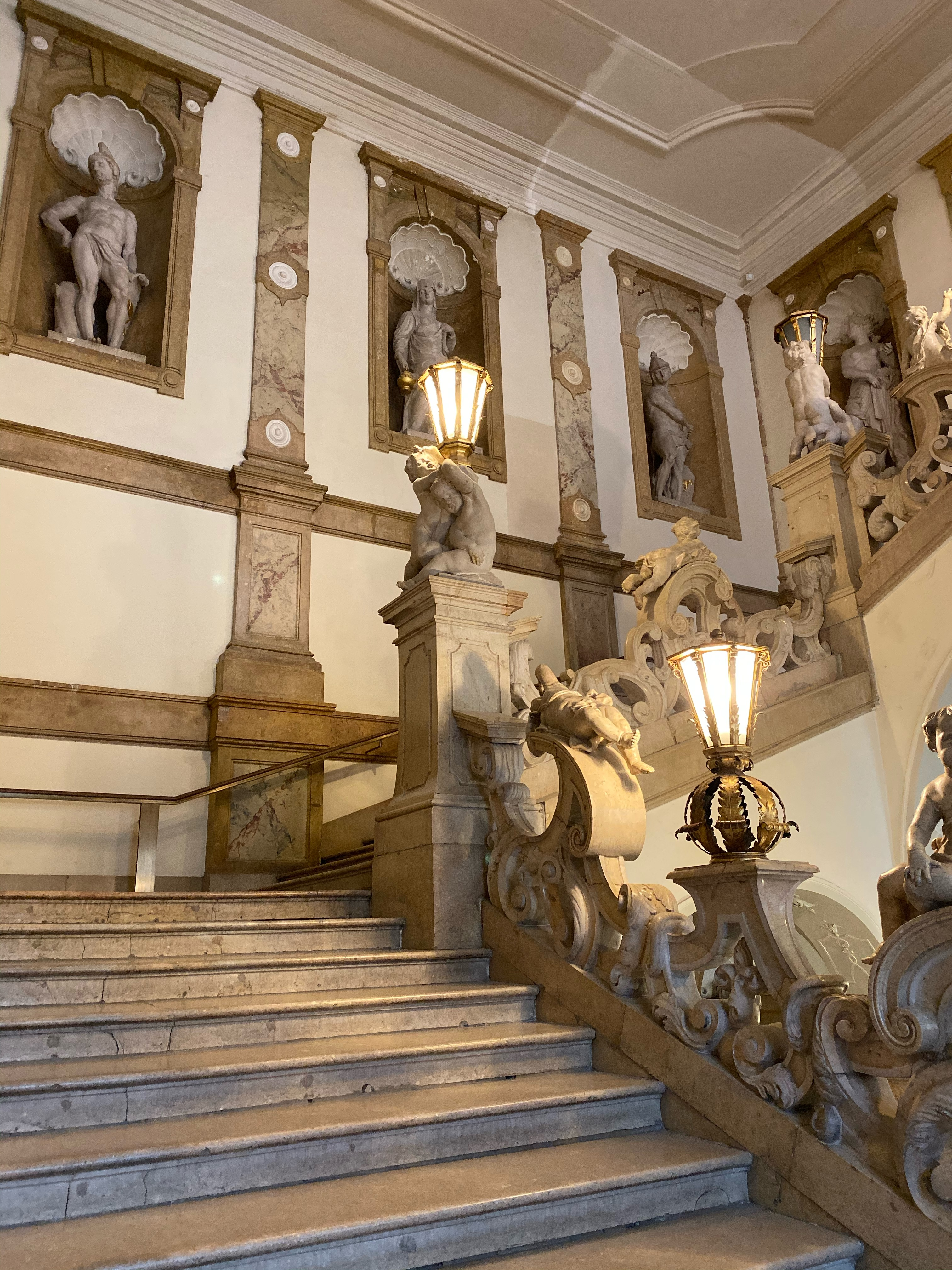 The marble staircase leading up to the Marble Hall at Schloss Mirabell in Salzburg.
