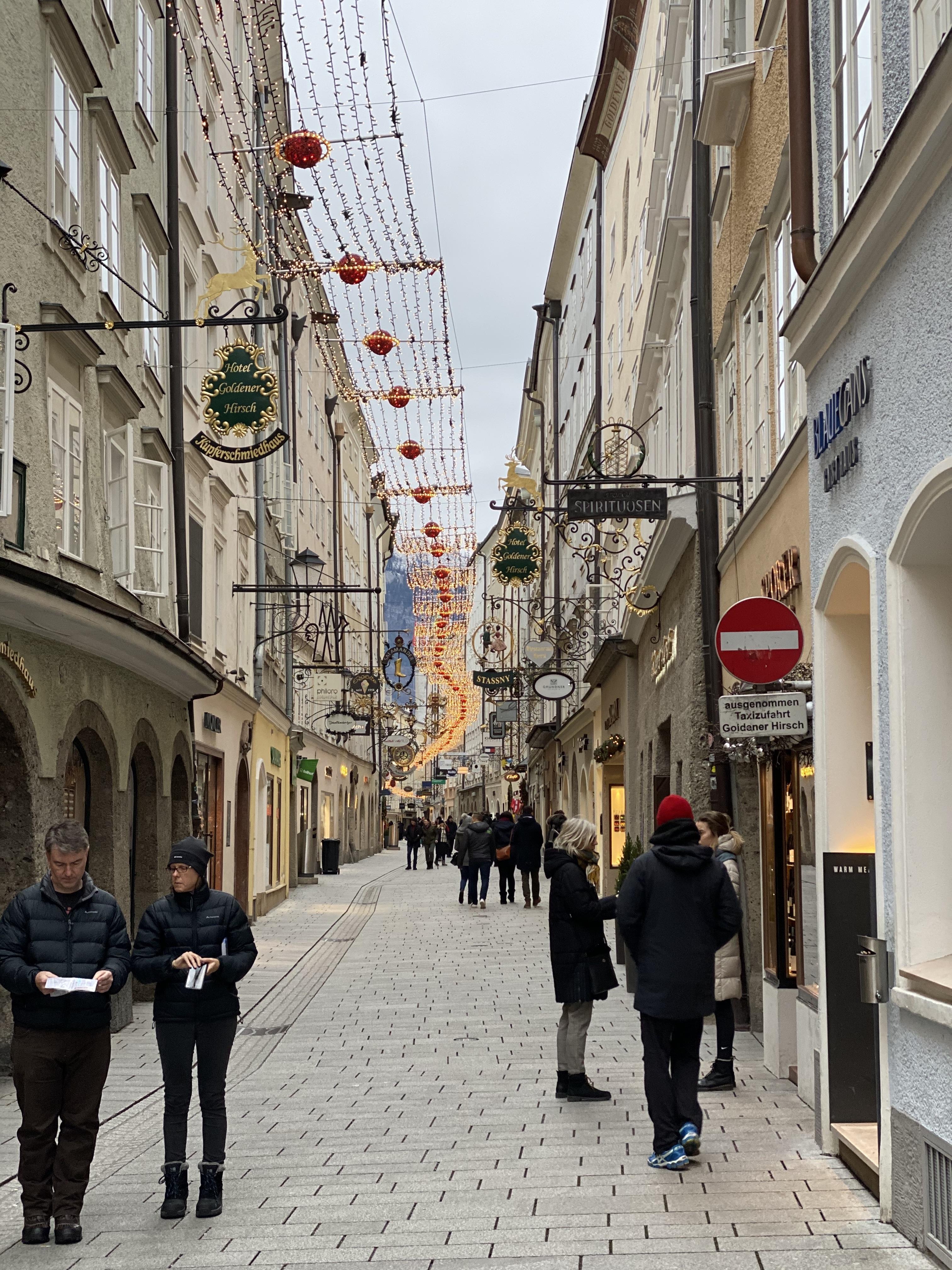 Getreidegasse shopping street in Salzburg Old Town.