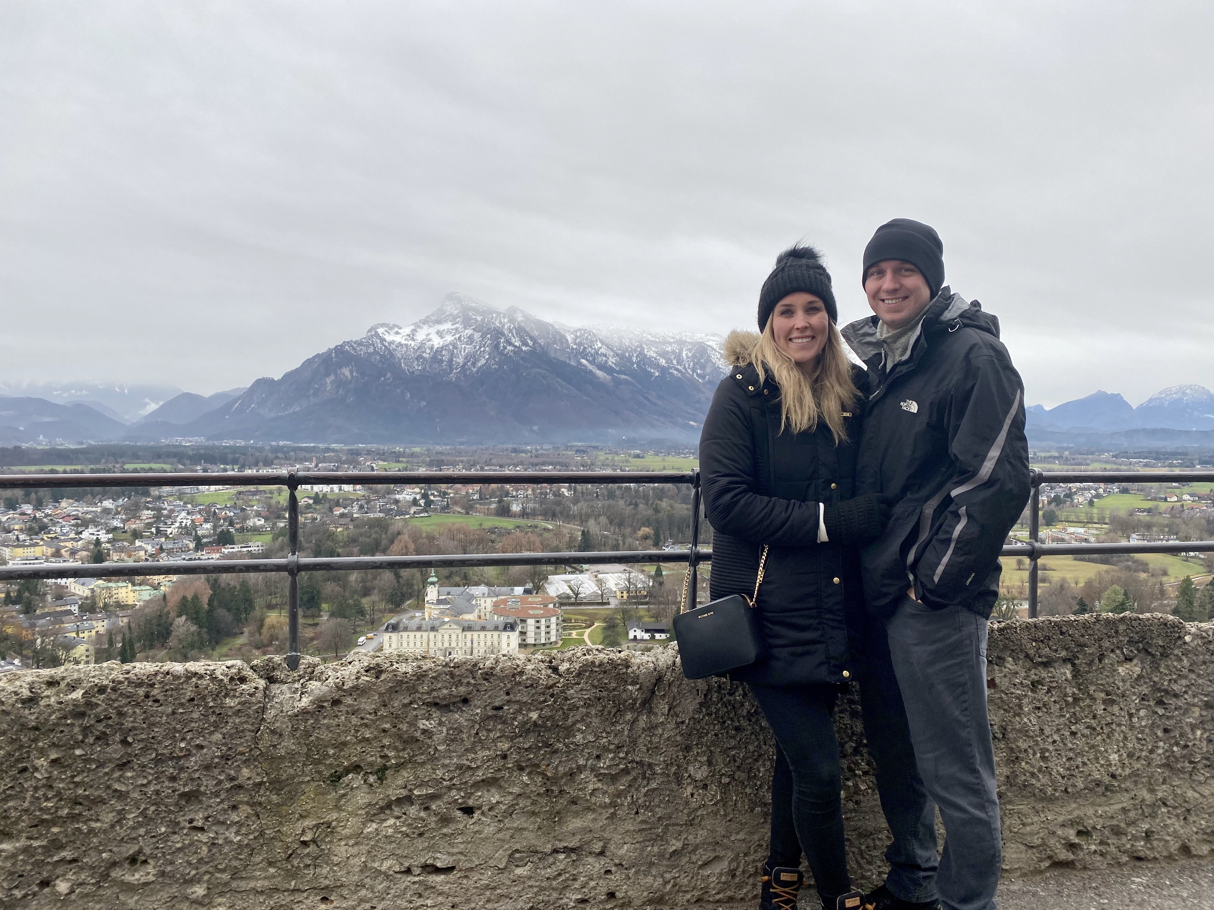 Erinn and Ben at Hohensalzburg Fortress with the Austrian alps in the background.