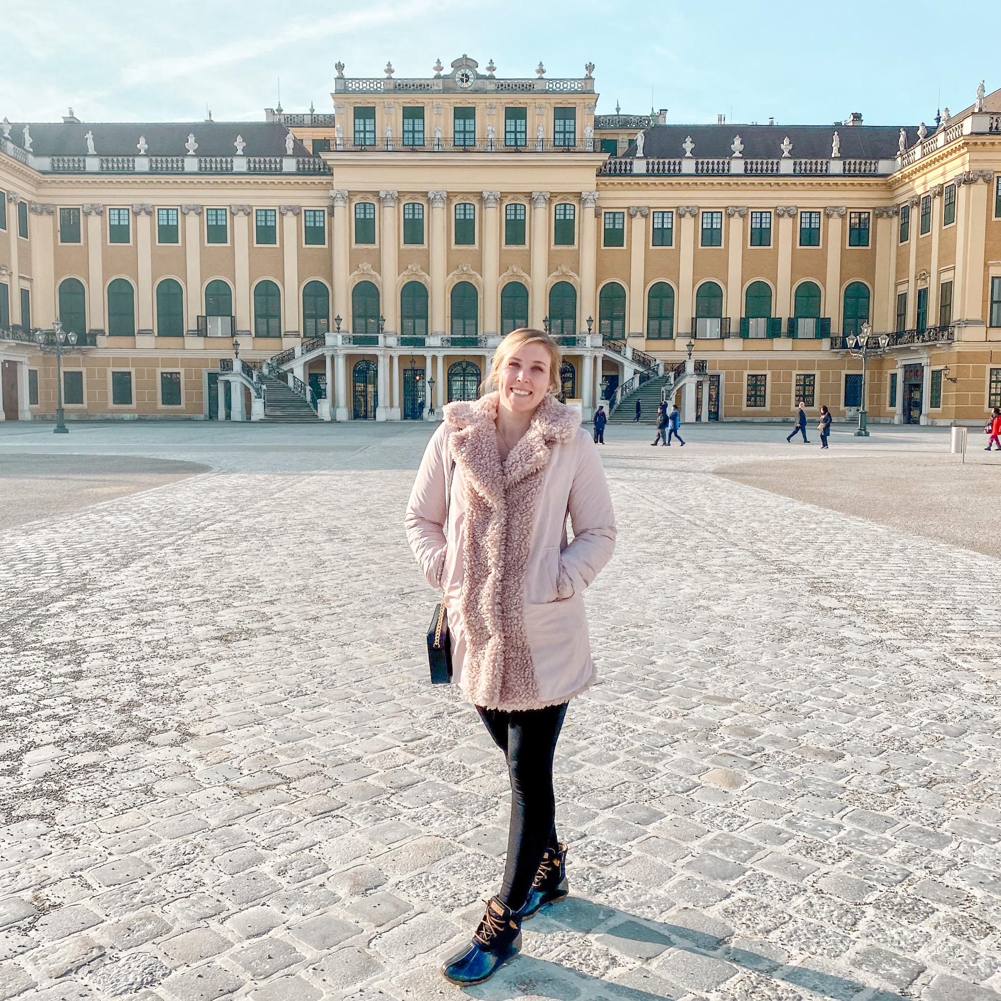 Erinn in front of Schönbrunn Palace in Vienna, Austria.